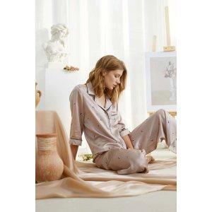 Self in Naked Printed Silk-Satin Pajama Set