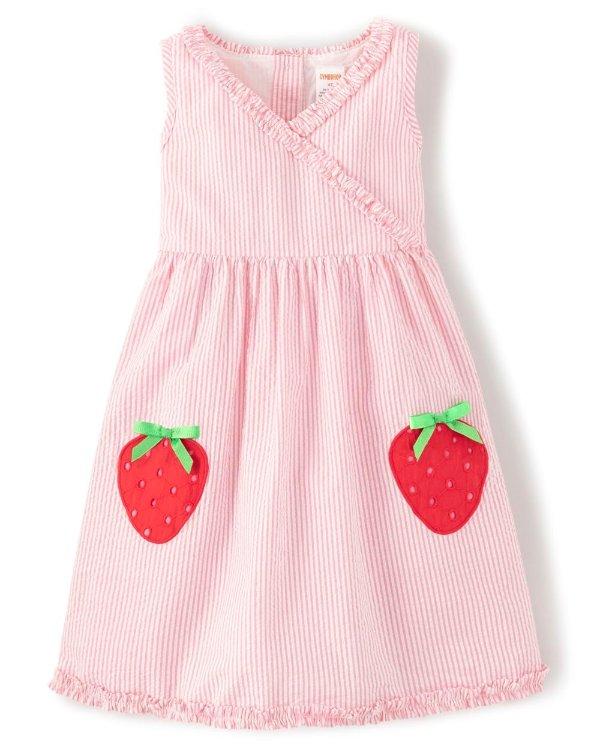 草莓无袖连衣裙