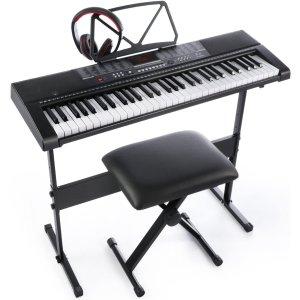 $125.64(原价$148.62)Joy 61键电子琴+耳机+琴凳 255种伴奏 mp3播放器功能