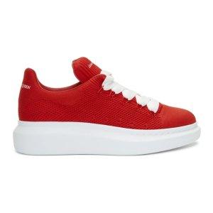 Alexander McQueen- Red Knit Oversized Sneakers