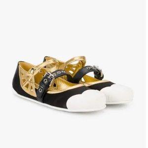 Miu Miu黑金芭蕾鞋