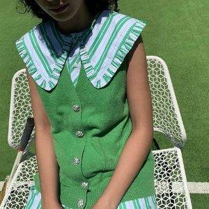 低至4折+限时免邮Ganni 折扣区上新 超多娃娃领系列单品 get减龄穿搭