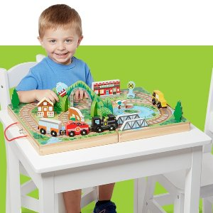 Amazon Melissa & Doug Take-Along Railroad (Portable Tabletop Set, 3 Train Cars, 17 Pieces)