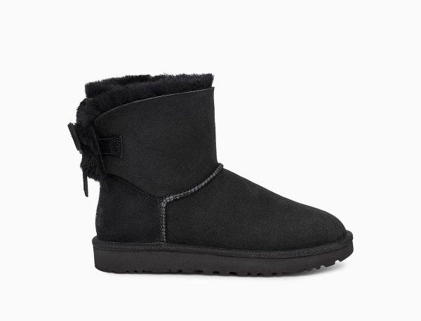 黑色低筒雪地靴