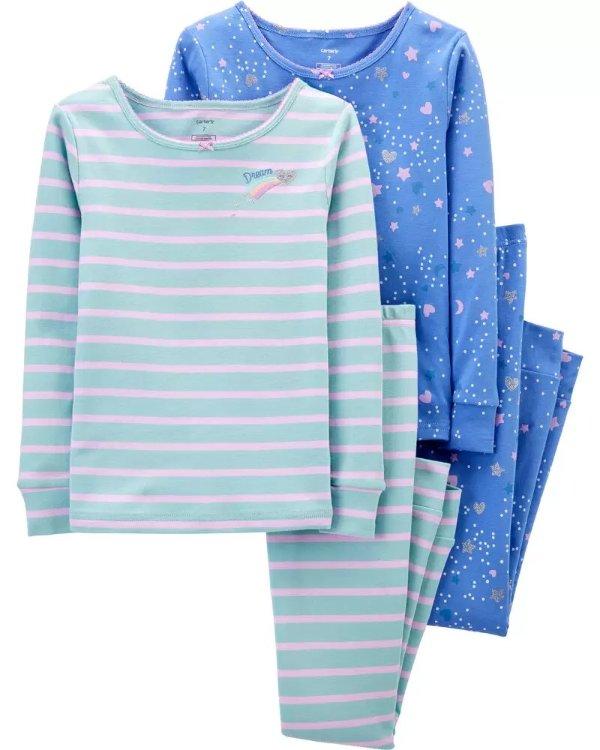 女孩紧身全棉睡衣4件套