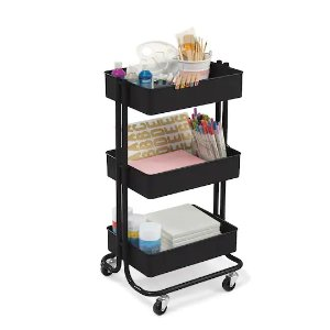 RecollectionsLexington Matte Black 3-Tier Rolling Cart By Recollections™