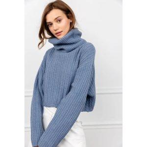 J.ING购买2件8.5折 购买3件8折Donna 蓝色高领毛衣