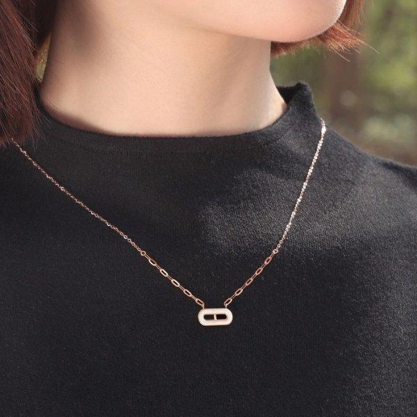 白贝母玫瑰金项链