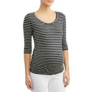 Planet MotherhoodMaternity 3/4 Sleeve Side Ruched Stripe Tee
