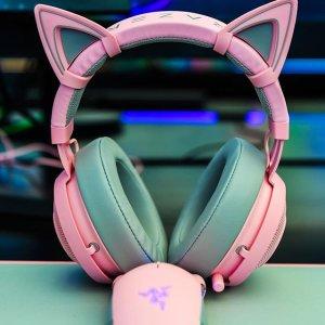 折后€71 打游戏也要萌萌哒Razer Kraken 雷蛇北海巨妖耳机粉晶版 和猫耳朵更配哦