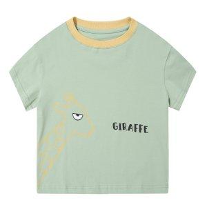 夏季T恤–长颈鹿–浅绿色