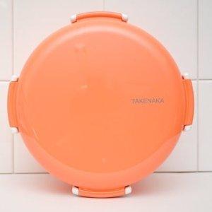 Takenaka四锁扣珊瑚色圆形便当盒