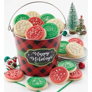 Happy Holidays Check Cookie Pail from 1-800-FLOWERS.COM