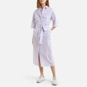 仅剩34/36/40/42码浅紫色系带连衣裙