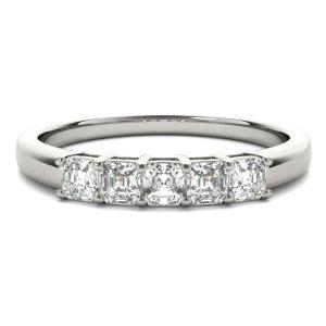 Five-Stone Asscher Cut Diamond Wedding Ring