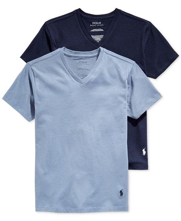 男大童V领T恤2件套