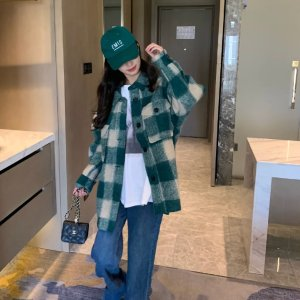Isabel Marant Etoile封面款!绿色格纹羊毛夹克