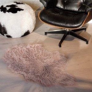 KineticLuxe Faux Fur Mongolian Sheepskin Faux Fur Single Rug - 2ft x 3ft - Dusty Rose