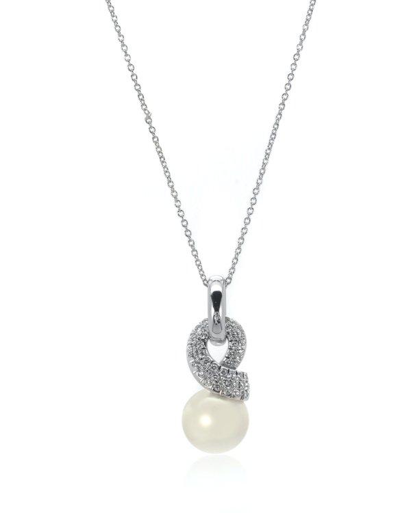 18K白金钻石珍珠项链