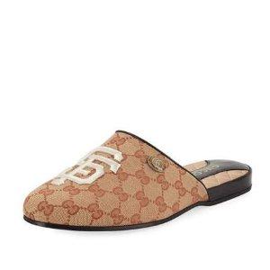 $427 经典好穿Gucci 老花穆勒鞋托 4.5折入
