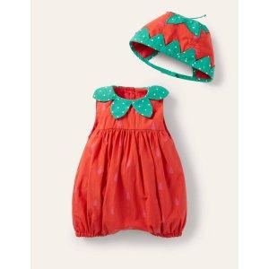 Boden婴儿草莓爬服,带帽子