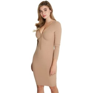 Jadonna Zip-Front Ribbed Dress at Guess