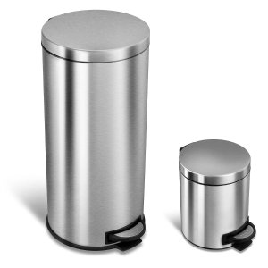 $39Nine Stars Combo 7.9 and 1.3 Gallon Step On Trash Can, Stainless Steel