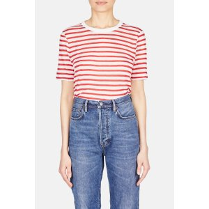 Striped Slub Classic Tee - Ivory/Cherry