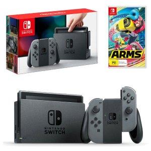 $349(原价$550) 快抢!史低价:Nintendo Switch 人气游戏机+Arms Bundle套盒热卖