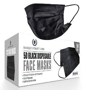 一次性黑色口罩防护 3层