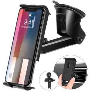 Kaome 3 in 1 Phone Holder for Car Phone Mount Suction Cup Universal Air Vent Windshield
