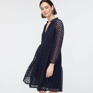 J.CrewTiered popover dress in embroidered eyelet