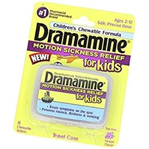 Amazon.com: Dramamine Motion Sickness Relief for Kids | Grape Flavor | 8 Count | Children's Chewable Formula to Prevent Nausea, Dizziness, and Vomiting (Pack of 1): Health & Personal Care