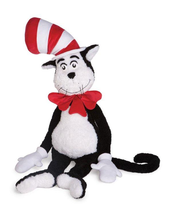 超大带帽子的猫毛绒玩具