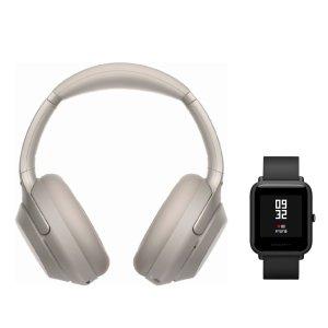 SonyWH-1000XM3 Wireless Headphones (Silver) with Amazfit Bip (Onyx Black)
