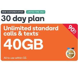 $4.90(原价$69.9)Kogan Mobile 超级月卡 40GB 澳洲电话任打