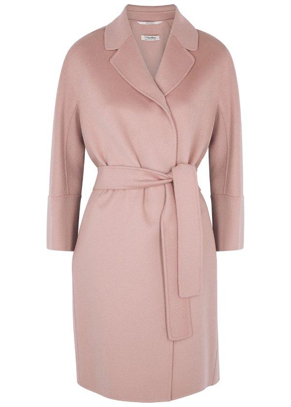 玫瑰粉羊毛大衣