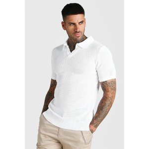 boohooMANShort Sleeve Muscle Fit Textured Notch Neck Polo | boohooMAN