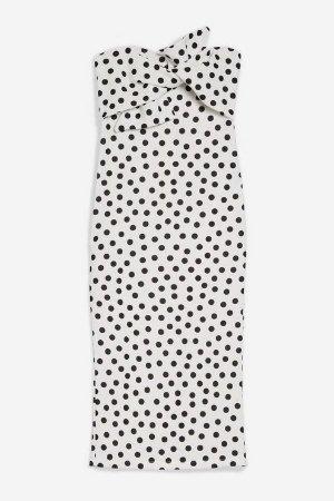 Topshop Bow Twist Dot Midi Bodycon Dress