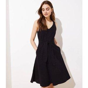 Tie Waist Midi Flare Dress   LOFT