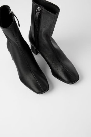 SOFT LEATHER HIGH HEELED ANKLE BOOTS - Leather-SHOES-WOMAN | ZARA United States