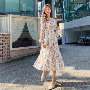 Floral V-Neck High-Waisted Maxi Dress