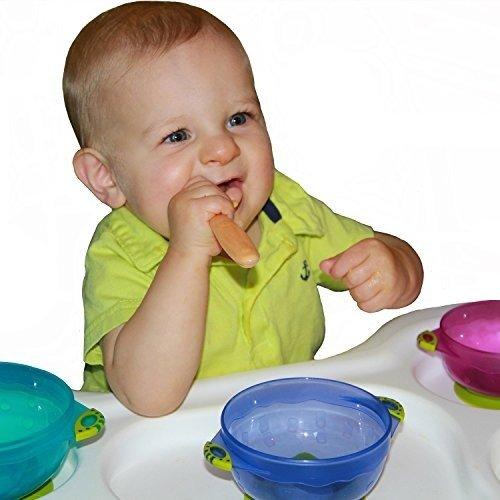 宝宝防溢可叠带盖餐碗,3个