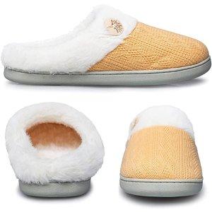 鹅黄 5色可选针织毛毛拖鞋
