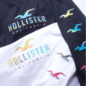 4折起+第二件半价+新人减£10!Hollister 休闲卫衣专场 甜甜马卡龙、冰激凌色参与
