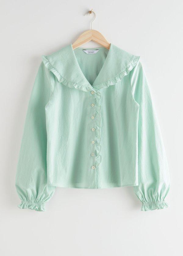 薄荷绿花边衬衫