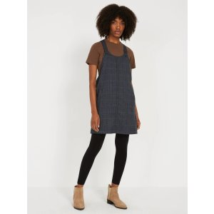 Plaid Pinafore - Navy