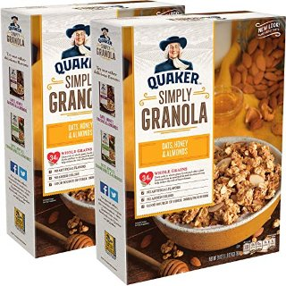 Quaker Simply Granola Oats, Honey & Almonds Breakfast Cereal 28 oz Boxes Twin Pack