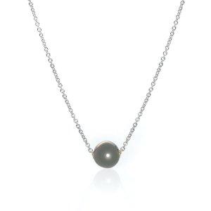 Mikimoto18k White Gold And Black South Sea Pearl Pendant Necklace