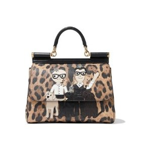bb898416 Dolce & GabbanaSicily appliqued leopard-print textured-leather shoulder bag